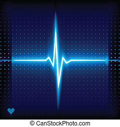Ekg. - .Blue heart beat. Ekg graph.