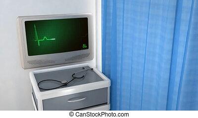 ekg, coeur, écran, vert, moniteur
