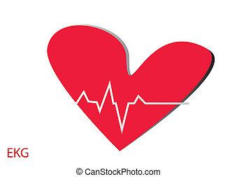 ekg, coeur, rouges, normal