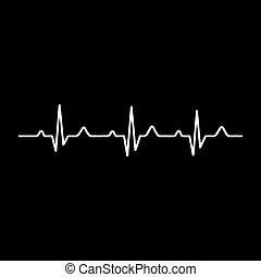 ekg, cuore, vettore, ritmo, illustrazione