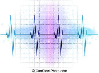 ekg diagram - Light blue heart beat diagram
