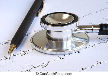 ekg, graphique, sommet, stéthoscope, stylo