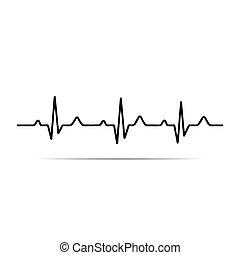 ekg, hjärta, vektor, rytm, illustration