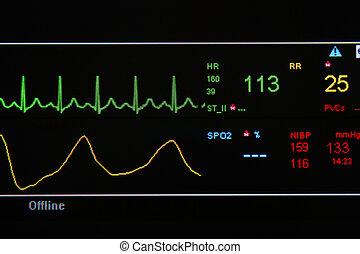 EKG,  monitor, unità,  ICU