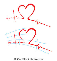 EKG of love - Abstract heart beat cardiogram with heart...