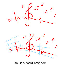 EKG of music - Heart beat cardiogram with violin key shape