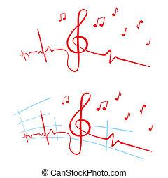 EKG of music - Heart beat cardiogram with violin key shape