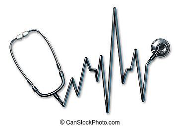 ekg, símbolo, estetoscópio, cuidados de saúde