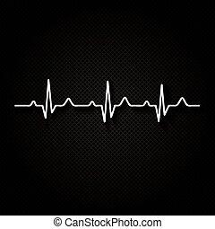 ekg, serce, wektor, rytm, ilustracja