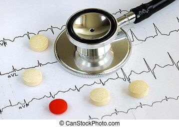 ekg, sommet, stéthoscope, diagramme, pilules