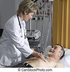 Ekg test - doctor makes the elderly patient ready for EKG...