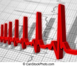 Ekg/ecg pulse diagram  - Red ekg/ecg pulse diagram