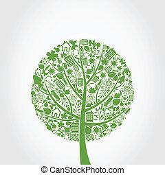 ekologi, a, träd