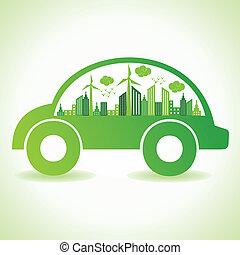 ekologi, begrepp, med, eco, bil