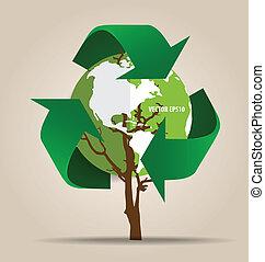 ekologi, concept., träd, symbol, vektor, återanvända, grön, ...