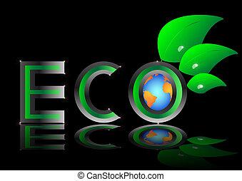 ekologi, eco, planet, vect, grön värld