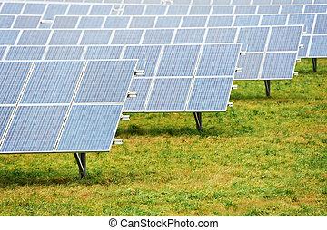ekologi, energi, lantgård, med, solar panel, batteri, fält