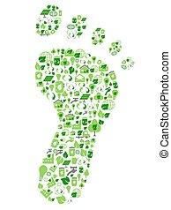 ekologi, ikonen, eco, grön, fotspår, vänskapsmatch, fyllt