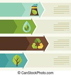ekologi, infographic, med, miljö, icons.