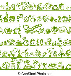 ekologi, mönster, concept., seamless, design, din