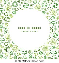 ekologi, mönster, ram, seamless, symboler, vektor, bakgrund