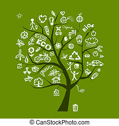 ekologi, träd, begrepp, grön, design, din