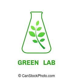 ekologi, vektor, logo, laboratorium