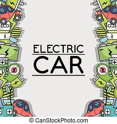 ekologia, elektryczny wóz, tło, technologia, troska