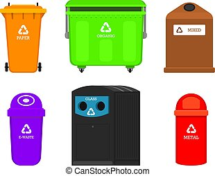 ekologia, elements., recycling, waste., puszki, różny, kierownictwo, odpadki, rozmieszczenie, concept., trashes., utilize, kontenery, skrzynia, jadło, symbol., segregacja, wyodrębnienie, śmieci, sortowanie, przemysł, torba, albo