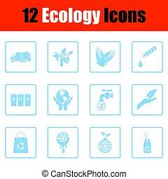 ekologia, ikona, komplet
