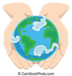 ekologia, kula ryczałt, ziemia, otwarty, błękitny, dłonie, pojęcie, otoczony, odizolowany, dzień, biały, oprócz, człowiek, szczęśliwy, natura, eco, ilustracja, tło, siła robocza, świat, chmury, ochrona, planeta, wektor, zielony