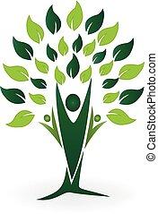 ekologia, ludzie, drzewo, zielony, teamwork, logo