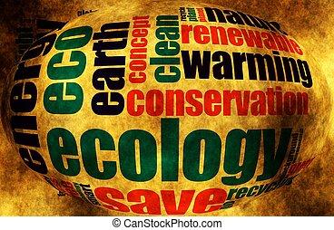 ekologia, słowo, chmura