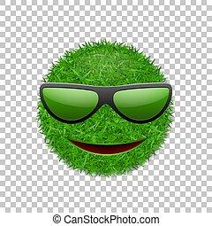 ekologia, trawiasty, uśmiechanie się, batyst, pole, concept., odizolowany, tło., uśmiech, biały, symbol, szczęśliwy, eco, poznaczcie., smiley, ilustracja, sunglasses., 3d., przeźroczysty, twarz, wektor, zielony, ikona, trawa, nature.