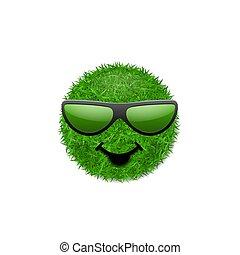 ekologia, trawiasty, uśmiechanie się, batyst, pole, natura, concept., odizolowany, tło., uśmiech, biały, poznaczcie., szczęśliwy, spring., eco, symbol, smiley, ilustracja, sunglasses., 3d., twarz, wektor, zielony, ikona, świeży, trawa