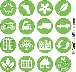 ekologia, zielony, ikony