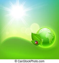 ekologiczny, pojęcie, globe., tło