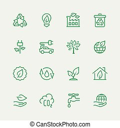 ekologiczny, wektor, komplet, ikona