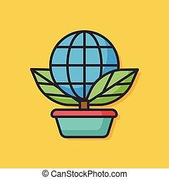 ekologiczny, wektor, roślina, ikona