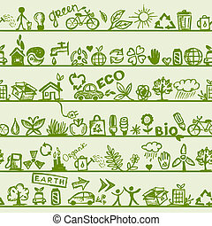 ekologie, concept., seamless, model, jako, tvůj, design