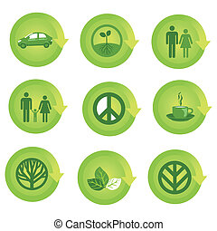 ekologisk, sätta, pil ikon