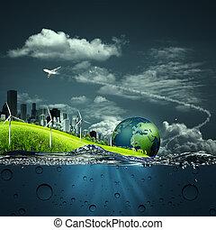 ekosystem, abstrakt, bakgrunder, din, design