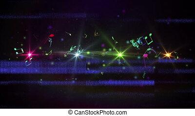 ekran, bandy, pokaz, notatki, muzyczny, mieszanie się