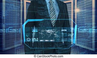 ekran, ciemny, cyfrowy, używając, pokój, biuro, biznesmen