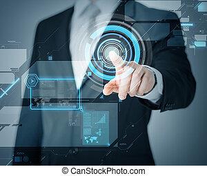 ekran, człowiek, faktyczny, spoinowanie, ręka
