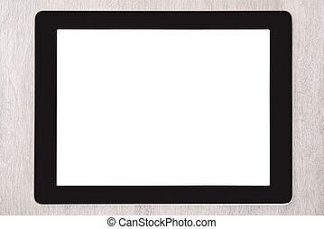 ekran, czysty, biały, tabliczka, cyfrowy