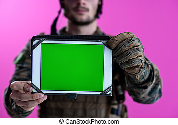 ekran, czysty, zielony, pokaz, żołnierz, tabliczka