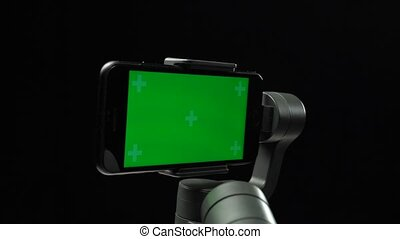 ekran, do góry, ręka, powstanie, stabilizator, steadicam,...