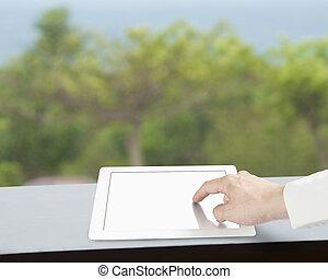 ekran, dotykanie, tabliczka, czysty