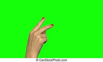 ekran, dwa, screen., palce, zielony, gest